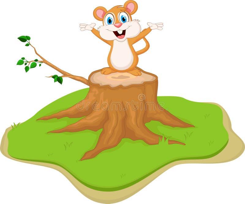 Leuke de holdingsnoot van het eekhoornbeeldverhaal op boomstomp stock illustratie