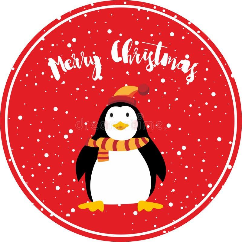 Leuke de kaart vectorilluistration van Pinguïn gelukkige vrolijke Kerstmis vector illustratie