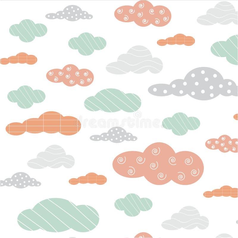 Leuke de kleuren van de achtergrond wolkenlijn patroonvector vector illustratie