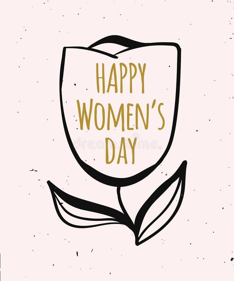 Leuke de lente Kleurrijke illustratie van meisjes en vrouwen in gouden kleur Kaart voor gelukwens Vector stock illustratie
