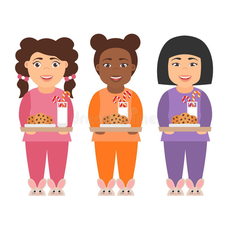 Leuke de meisjeskinderen van het beeldverhaalkarakter met melk en koekjes voor Santa Claus royalty-vrije illustratie