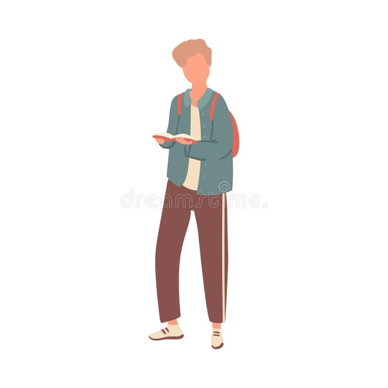 Leuke de studentenjongen van het blondehaar met rode rugzak vector illustratie