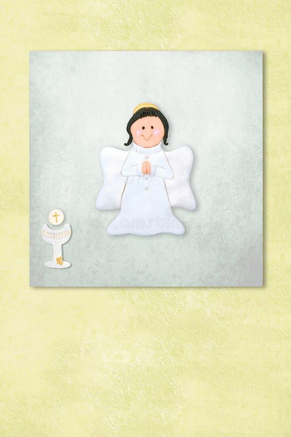 Leuke de uitnodigingskaart van de Engelen eerste kerkgemeenschap royalty-vrije illustratie