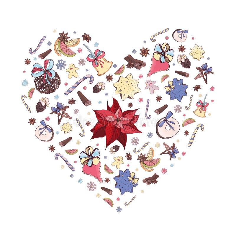 Leuke de vormillustratie van het Kerstmishart met traditionele Kerstmisdecoratie, rode Wolfsmelkpulcherrima, speelgoed en snoepje vector illustratie