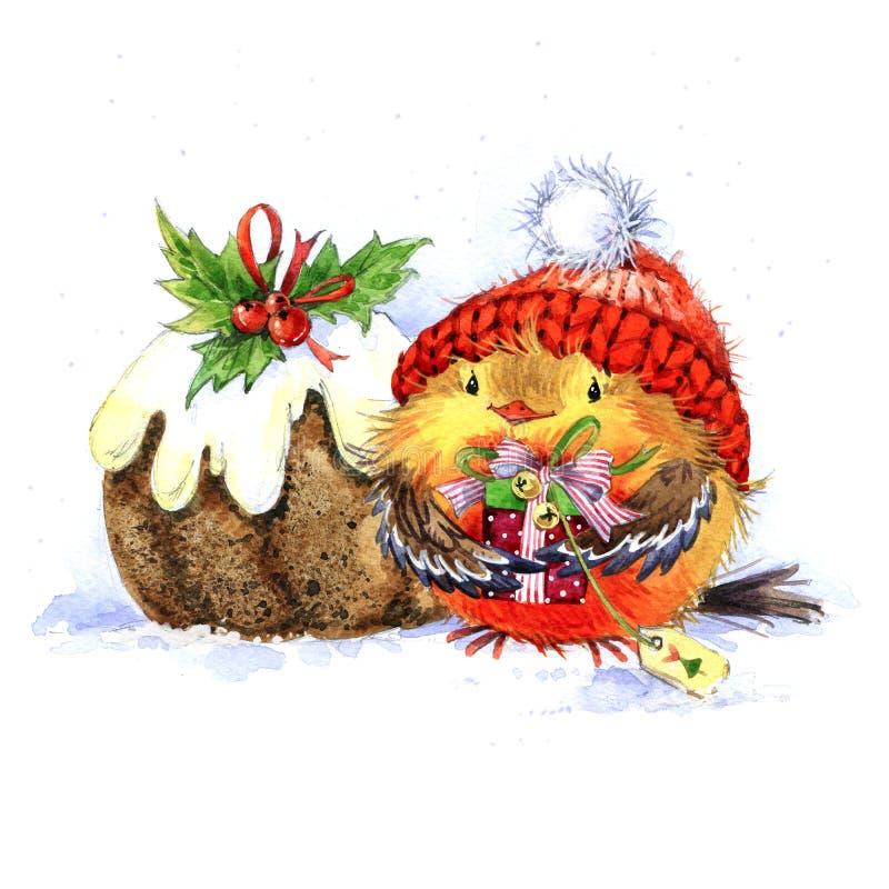 Leuke de Wintervogel Kerstman Klaus, hemel, vorst, zak Nieuwe llustration van de jaarwaterverf stock illustratie