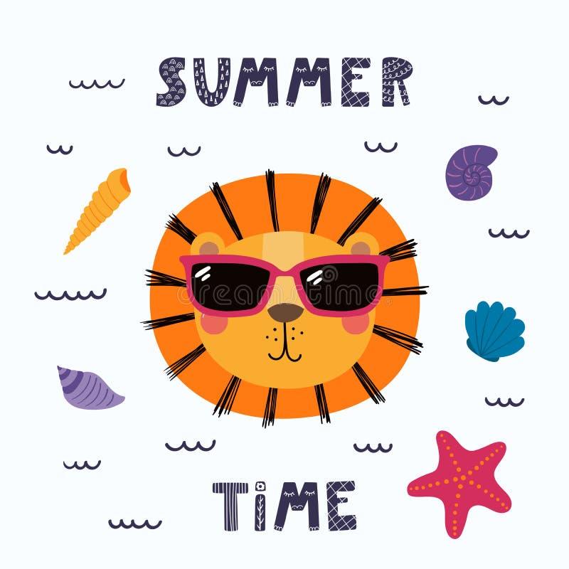 Leuke de zomerleeuw stock illustratie