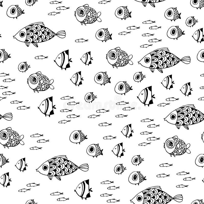 Leuke de zomervissen Naadloos patroon royalty-vrije stock afbeeldingen