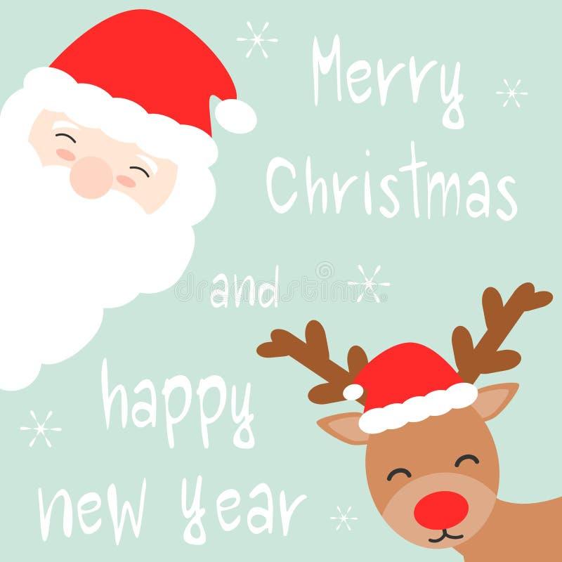 Leuke die beeldverhaalhand vrolijke Kerstmis en gelukkige nieuwe jaarkaart met de Kerstman en rendier wordt getrokken stock illustratie