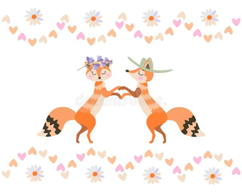Leuke die beeldverhaalvossen in liefde op witte achtergrond in vector wordt ge?soleerd Vector illustratie gestileerd groen hart royalty-vrije illustratie
