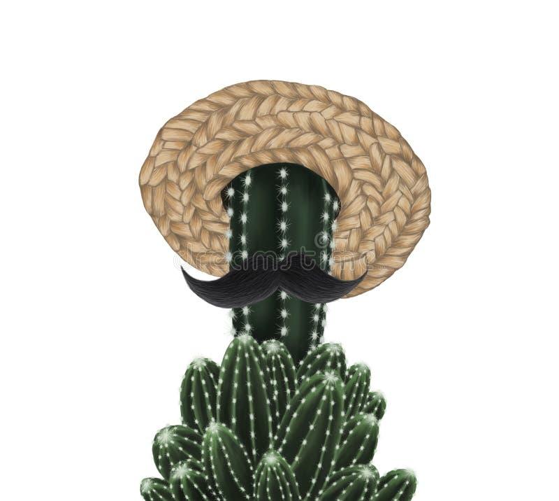 Leuke die cactus met strohoed en snor op witte achtergrond wordt geïsoleerd stock illustratie