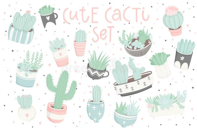 Leuke die de zomersticker met cactussen wordt geplaatst en succulents royalty-vrije illustratie