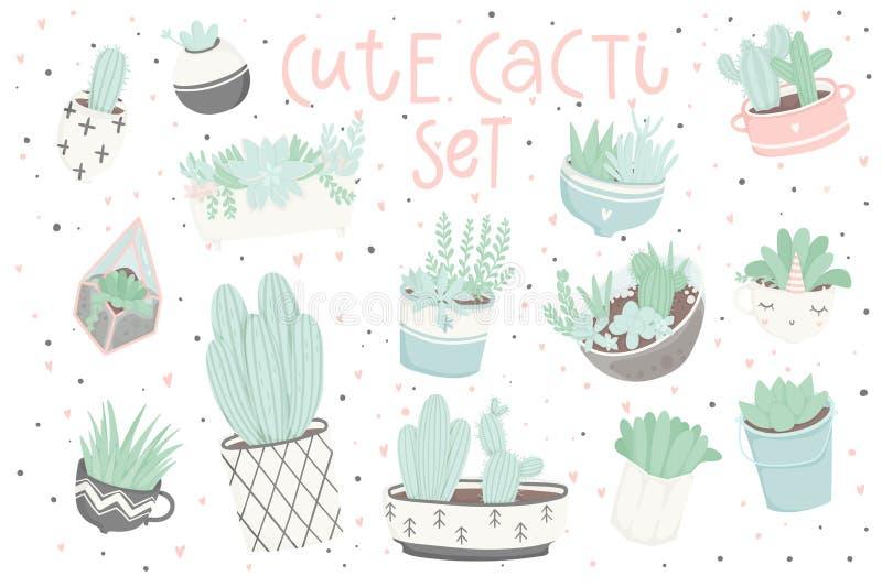Leuke die de zomersticker met cactussen wordt geplaatst en succulents stock illustratie