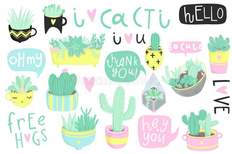 Leuke die de zomersticker met cactussen wordt geplaatst en succulents vector illustratie