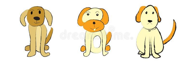 Leuke die honden op witte achtergrond worden geplaatst stock illustratie