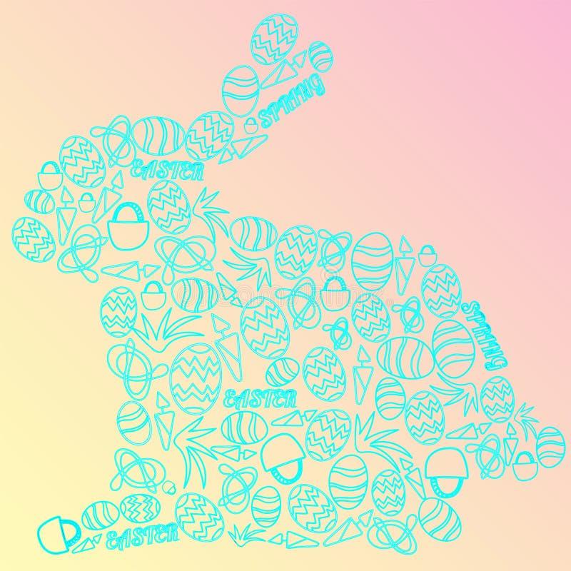 Leuke die konijntjesvorm met Pasen-beeldverhaalpictogrammen wordt gevuld vector illustratie