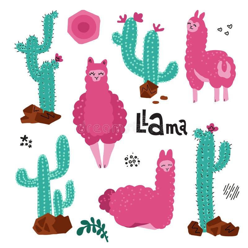 Leuke die lama voor ontwerp wordt geplaatst Boomalpacas met velen de Kinderachtige druk van de Cactusseninstallatie voor kaarten  stock illustratie