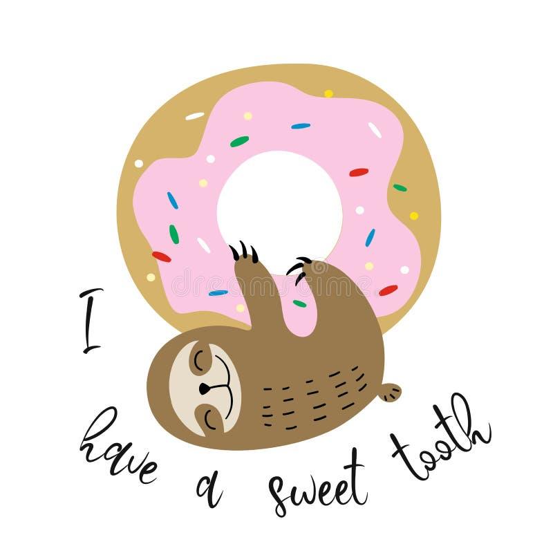 Leuke die luiaard op een zoete doughnut wordt gehangen Zoete tand inschrijving Vector royalty-vrije illustratie