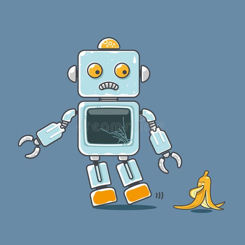 Leuke die robot en banaanmascotte op blauwe achtergrond wordt geïsoleerd royalty-vrije illustratie
