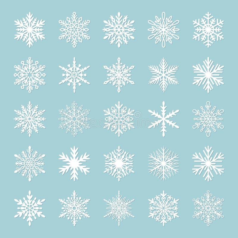 Leuke die sneeuwvlokinzameling op blauwe achtergrond wordt geïsoleerd Vlakke sneeuwpictogrammen, het silhouet van sneeuwvlokken D vector illustratie