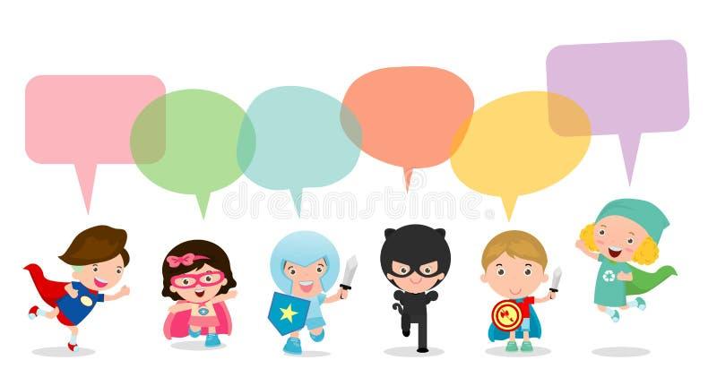 Leuke die superherojonge geitjes met toespraakbellen, Reeks van superherokind met toespraakbellen op witte achtergrond, Vector wo royalty-vrije illustratie