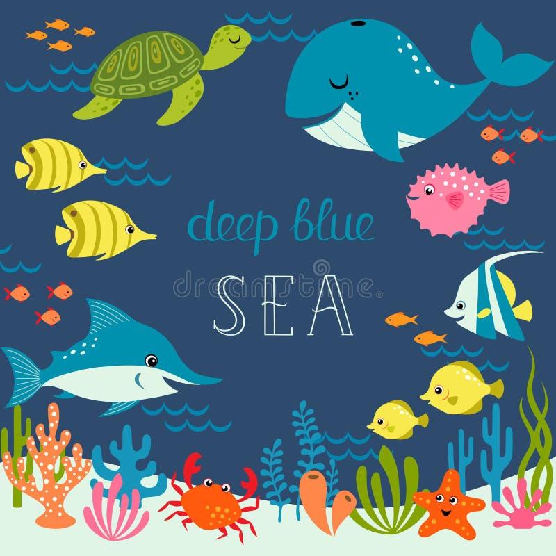 Leuke diepe blauwe overzees vector illustratie
