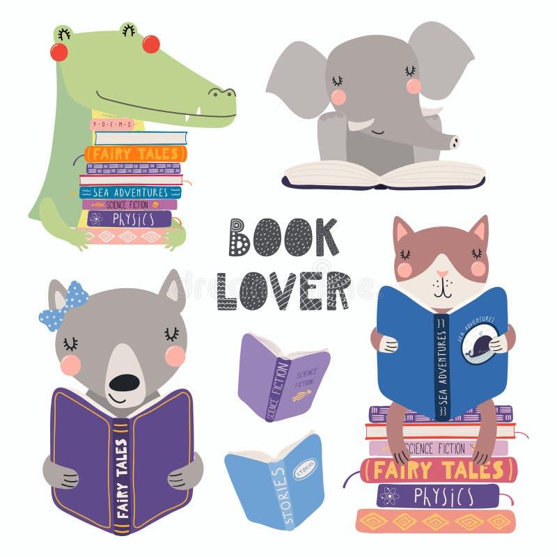 Leuke dieren die geplaatste boeken lezen royalty-vrije illustratie