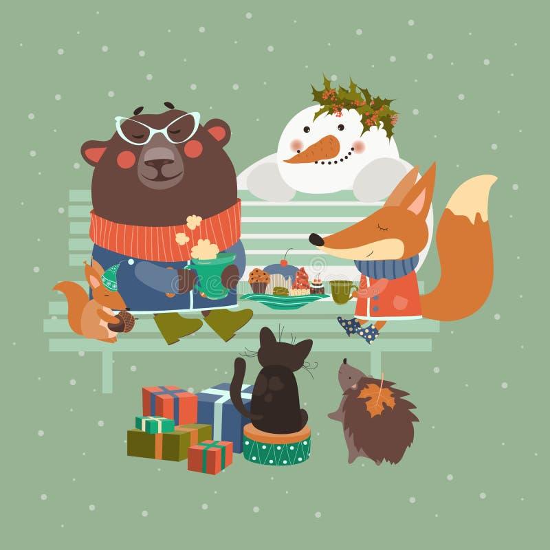 Leuke dieren die Kerstmis vieren stock illustratie