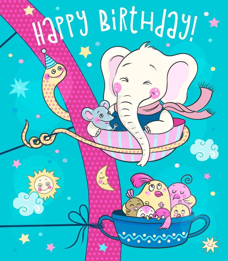 Leuke dieren - een olifant, een muis en een familie van vogels berijden op de carrousel royalty-vrije illustratie