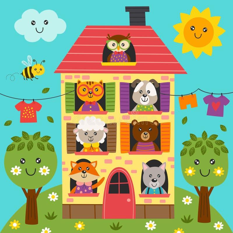 Leuke dieren in het huis royalty-vrije illustratie