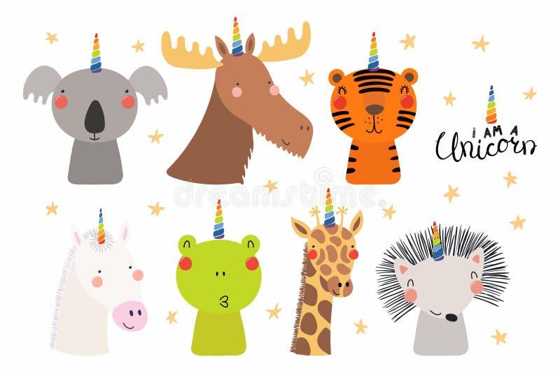 Leuke dieren met de reeks van de eenhoornhoorn royalty-vrije illustratie