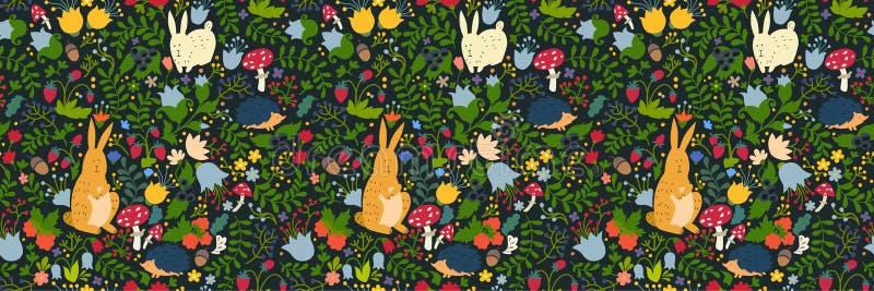 Leuke dieren op magisch bos naadloos patroon Konijn en egel vectorillustraties voor baby royalty-vrije illustratie