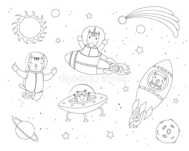 Leuke dieren in ruimte kleurende pagina's vector illustratie