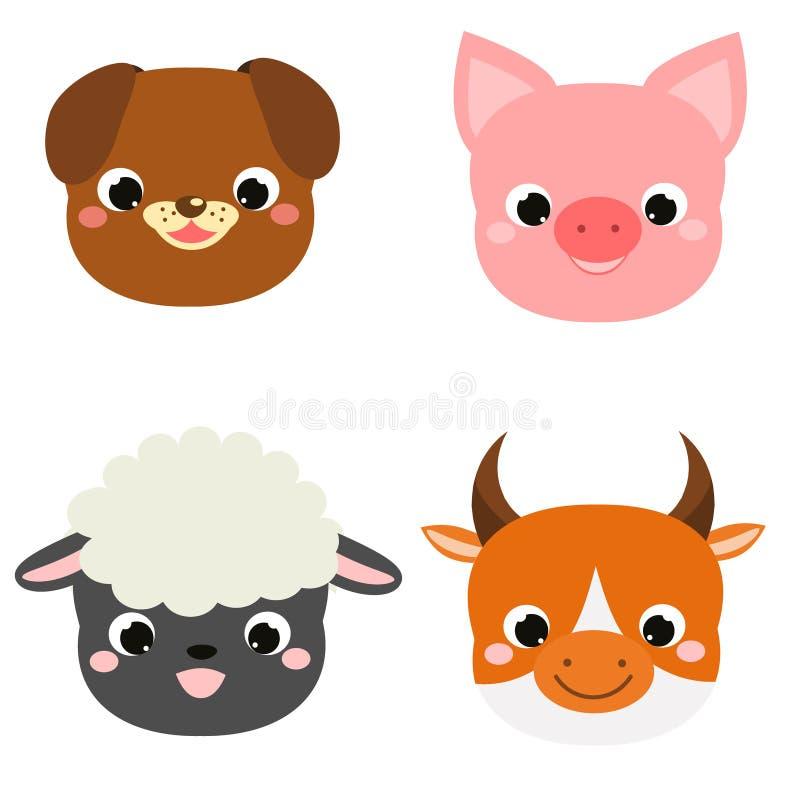 Leuke dierengezichten De pictogrammen van het landbouwbedrijfhuisdieren van beeldverhaalkawaii royalty-vrije illustratie