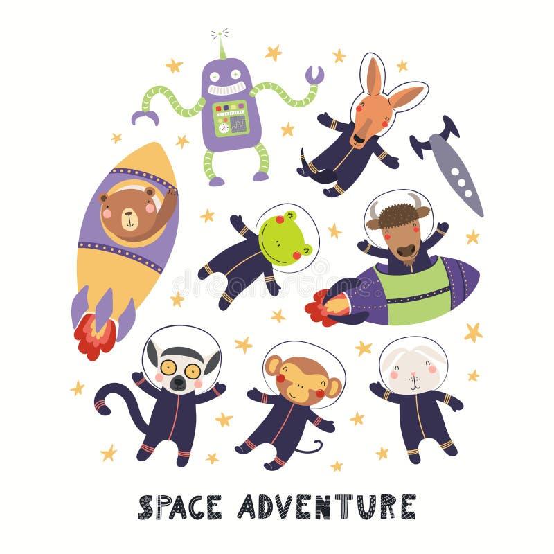 Leuke dierlijke geplaatste astronauten royalty-vrije illustratie