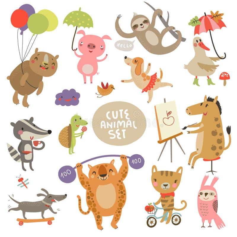 Leuke dierlijke vastgestelde Illustraties met karakters vector illustratie