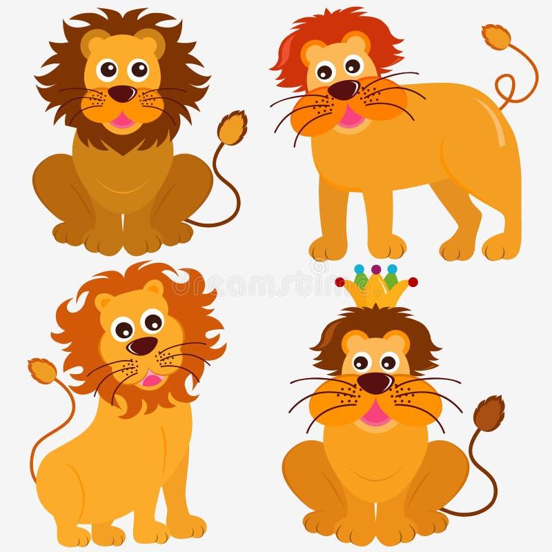Leuke Dierlijke VectorPictogrammen: Leeuw royalty-vrije illustratie