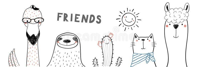 Leuke dierlijke vrienden royalty-vrije illustratie