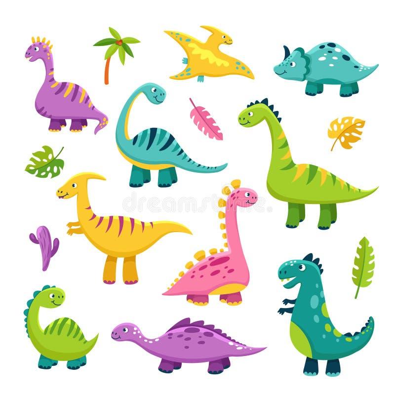 Leuke Dino Van de dinosaurusstegosaurus van de beeldverhaalbaby van de draakjonge geitjes vector van de wilde dierenbrontosaurus  vector illustratie