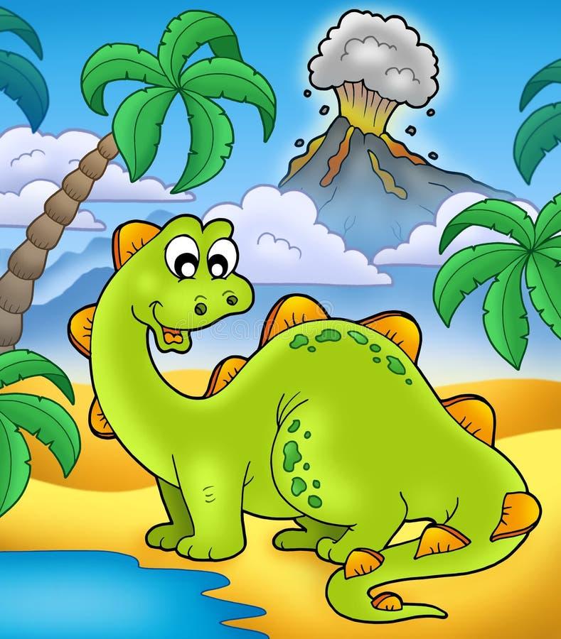 Leuke dinosaurus met vulkaan stock illustratie