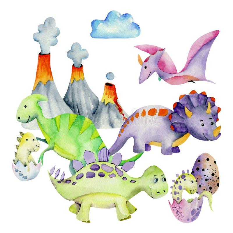 Leuke dinosaurussen dichtbij de illustratie van de vulkaanwaterverf vector illustratie