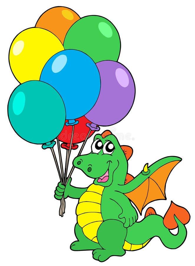 Leuke draak met ballons stock illustratie