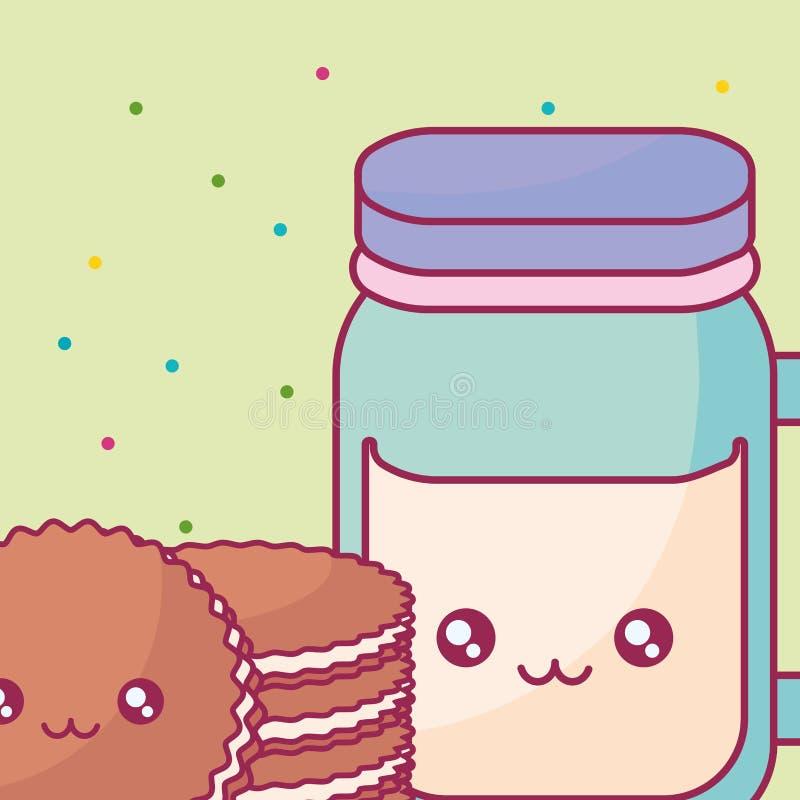 Leuke drankkruik met de karakters van koekjeskawaii vector illustratie