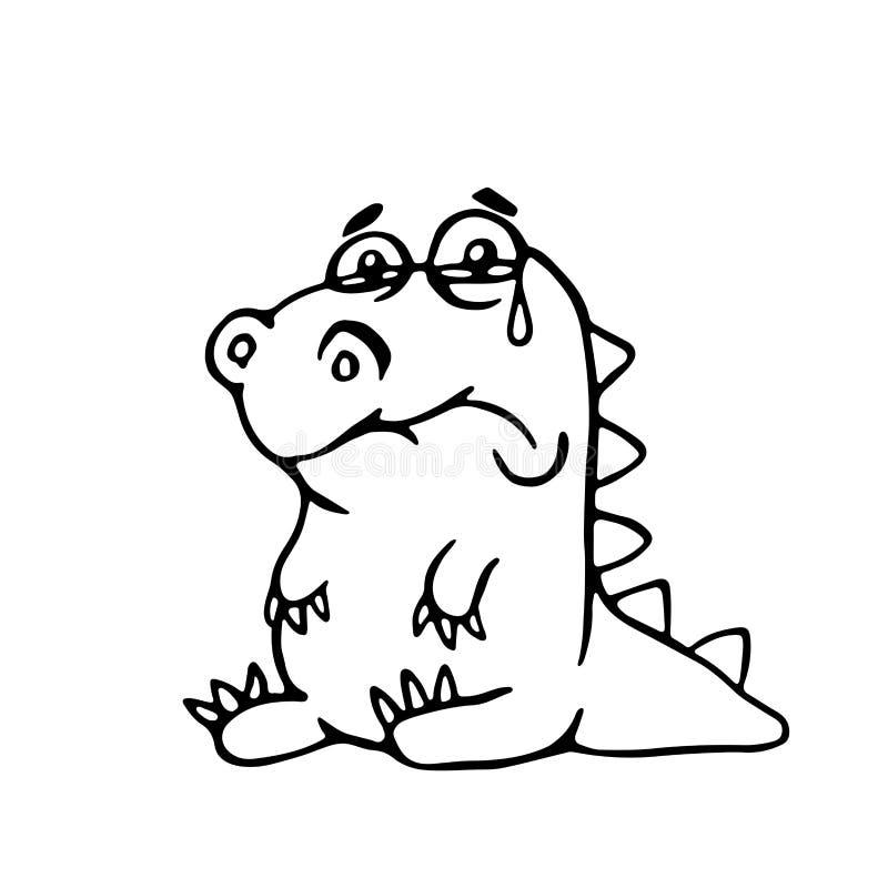 Leuke droevige draak Vector illustratie vector illustratie
