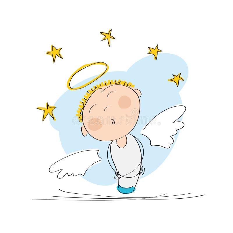 Leuke dromerige engel met hierboven sterren vector illustratie
