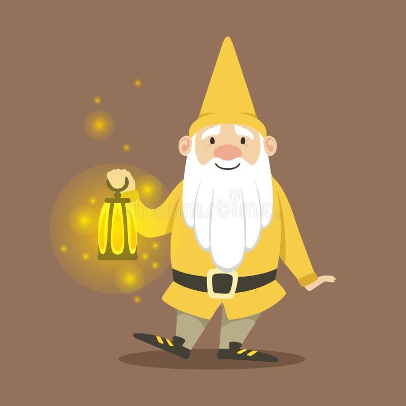 Leuke dwerg in een gele jasje en een hoed die zich met de kleine vectorillustratie van de kerosinelamp bevinden vector illustratie