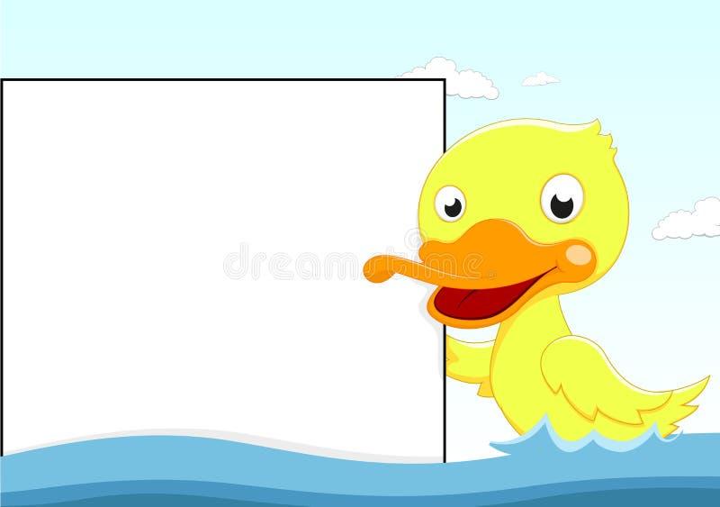 Leuke Eend die met Houten Teken zwemmen royalty-vrije illustratie