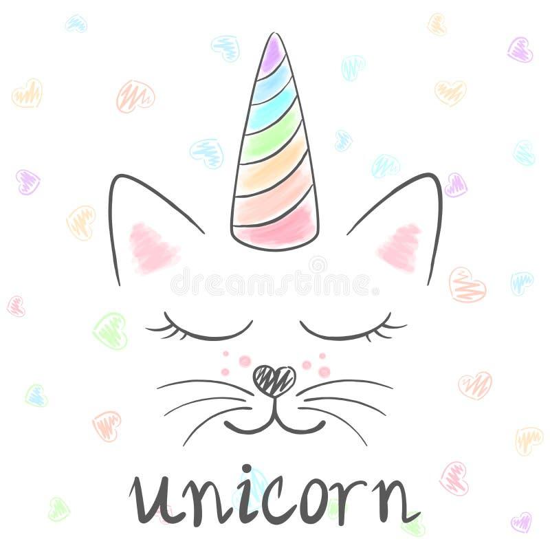 Leuke eenhoorn, de illustratie van de kattenmiauw Grappige prinses en kroon voor drukt-shirt Hand getrokken stijl stock illustratie