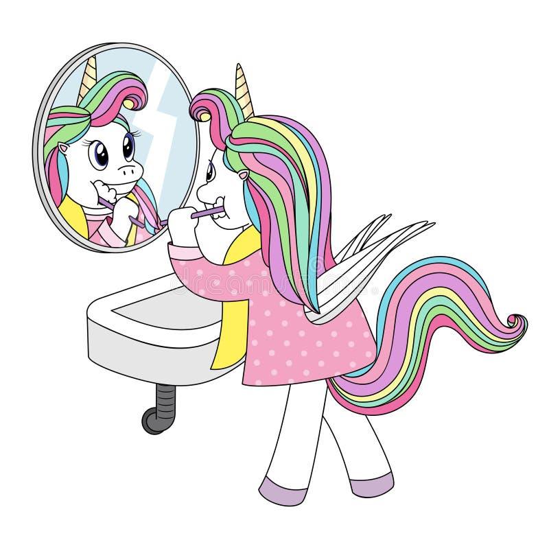 Leuke eenhoorn met vleugels in pyjama's die zijn tanden voor een spiegel borstelen royalty-vrije illustratie
