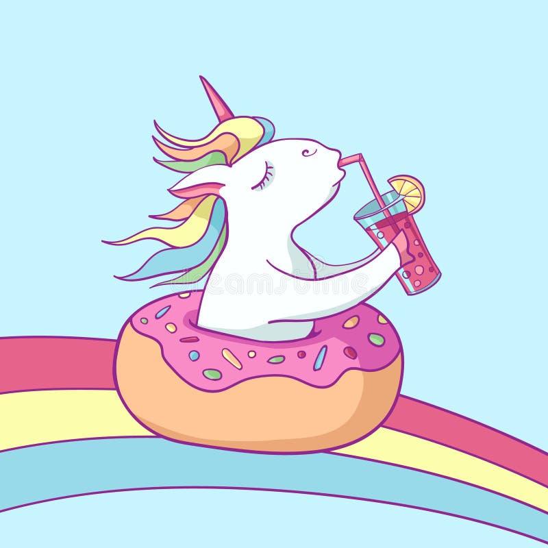 Leuke eenhoorn op doughnut zwemmende ring Jonge volwassenen Magische eenhoorn die een cocktail op regenboog drinken Beeldverhaal  vector illustratie