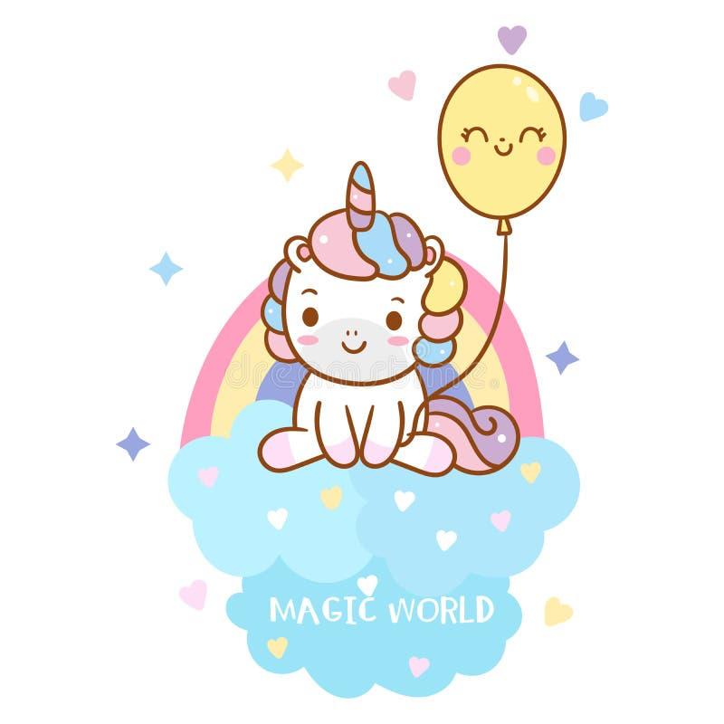 Leuke Eenhoornvector met ballon en regenboog op wolk en minihartpastelkleur, Gelukkige verjaardagspartij, Kawaii-poneybeeldverhaa royalty-vrije illustratie